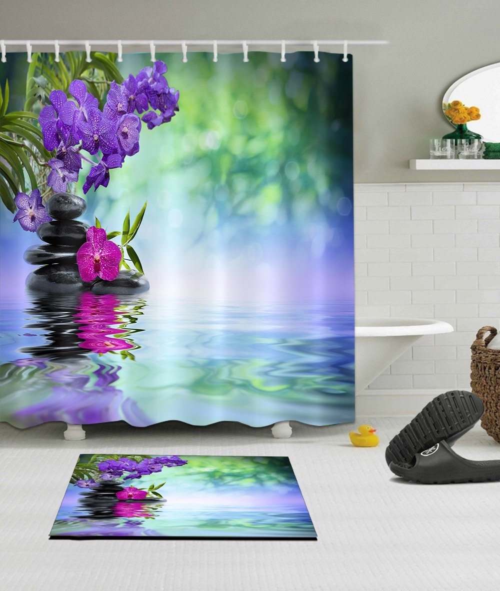 LB India Spa Zen Buddha Water Yoga Hot Spring Meditation Children Decoration Shower Curtain Polyester Fabric 3D 72x72 Waterproof Purple Orchid Flower Stone Kids Bathroom Accessories Bath Liner Mat