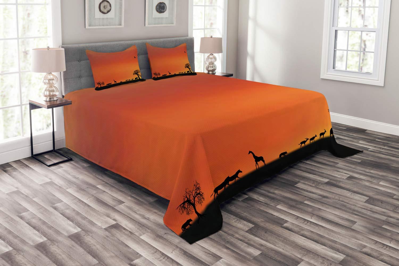 Abakuhaus Afrika Tagesdecke Set, Safari Sonnenuntergang mit Gull, Set mit Kissenbezügen Klare Farben, für Doppelbetten 264 x 220 cm, DunkelOrange Schwarz