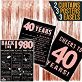 1980 Posters 40th Birthday Decorations for Her, 40th Birthday Gifts for Women, 40 Birthday Party Supplies Forty…