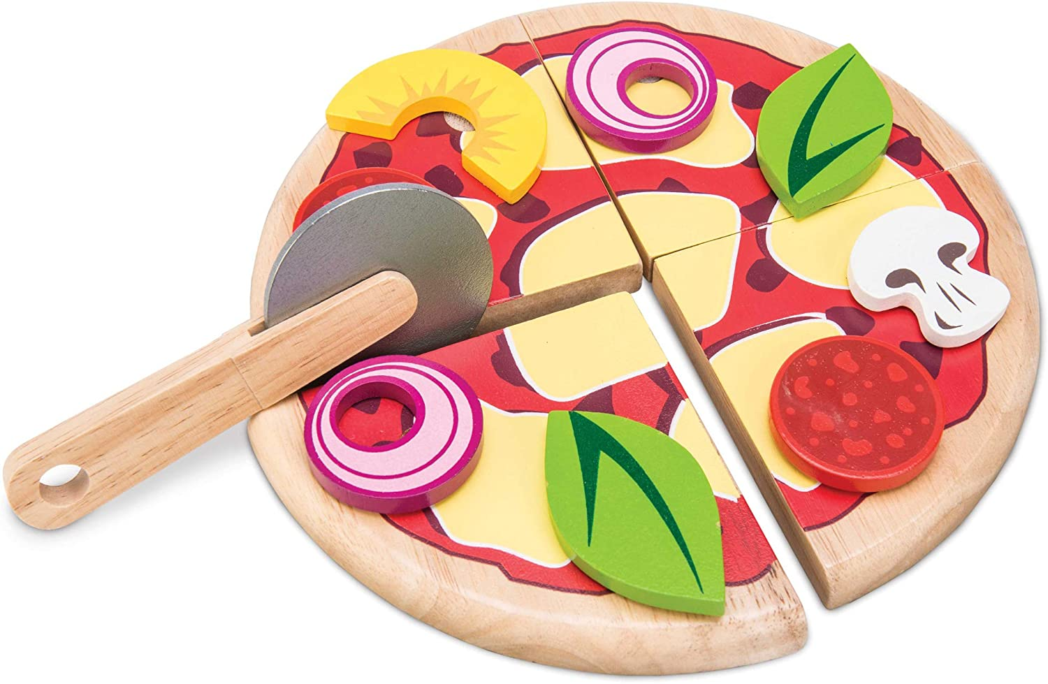 Le Toy Van Honeybake Collection Create Your Own Pizza Set Premium Wooden Toys for Kids Ages 3 years & Up
