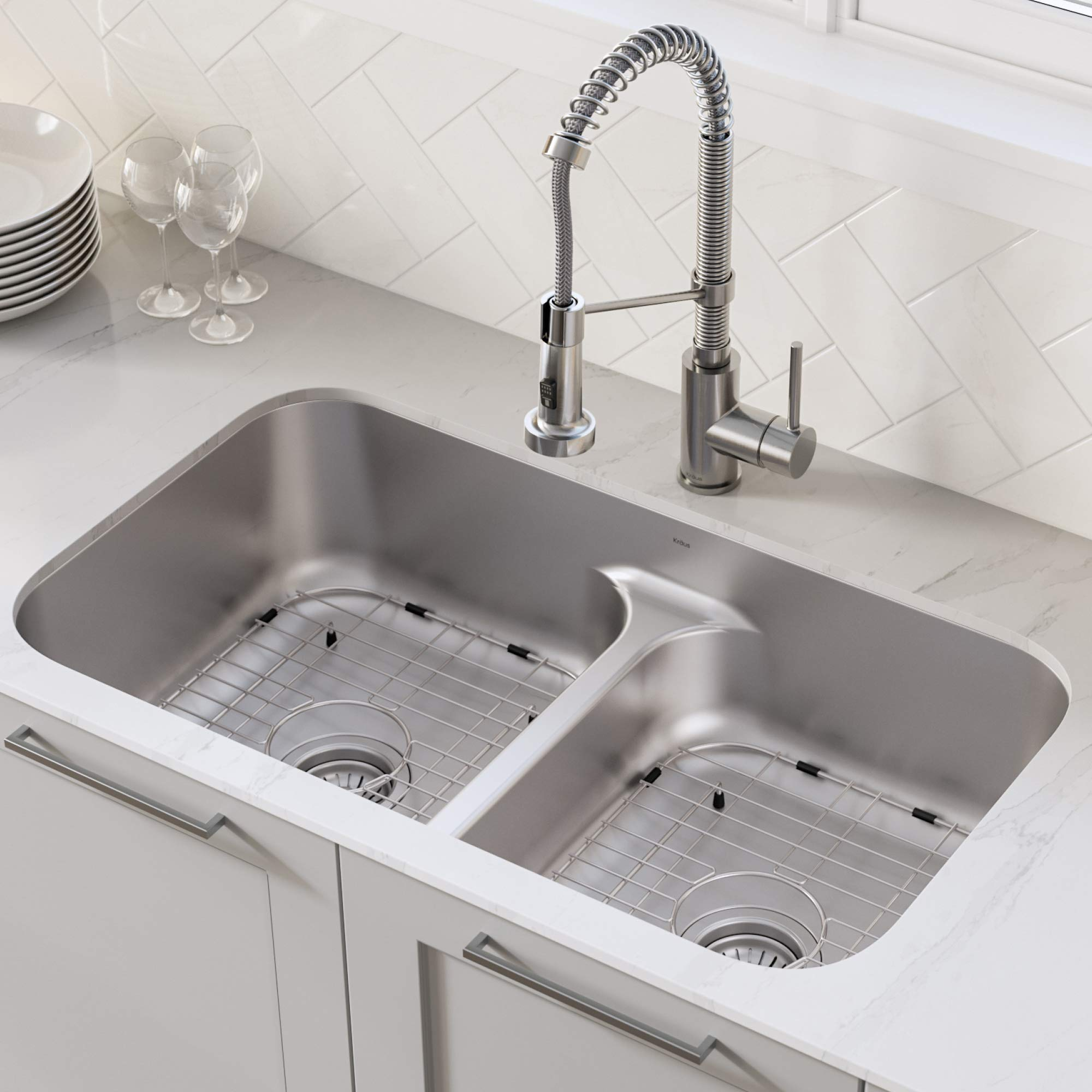 KRAUS KBU32 Premier 32-inch 16 Gauge Undermount 50/50 Double Bowl Kitchen Sink with Smart Low Divider by Kraus (Image #2)