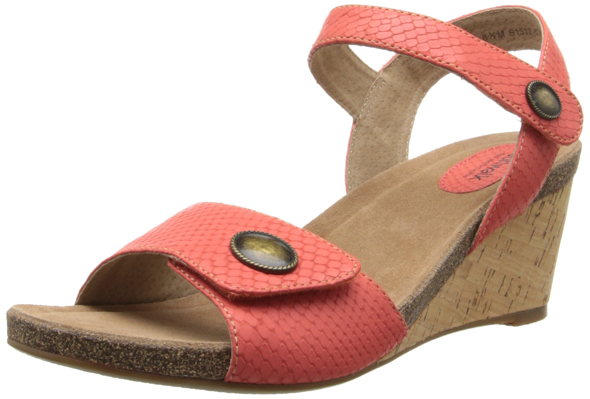 Softwalk Women's Jordan Wedge Sandal, Coral, 7.5 N US by SoftWalk