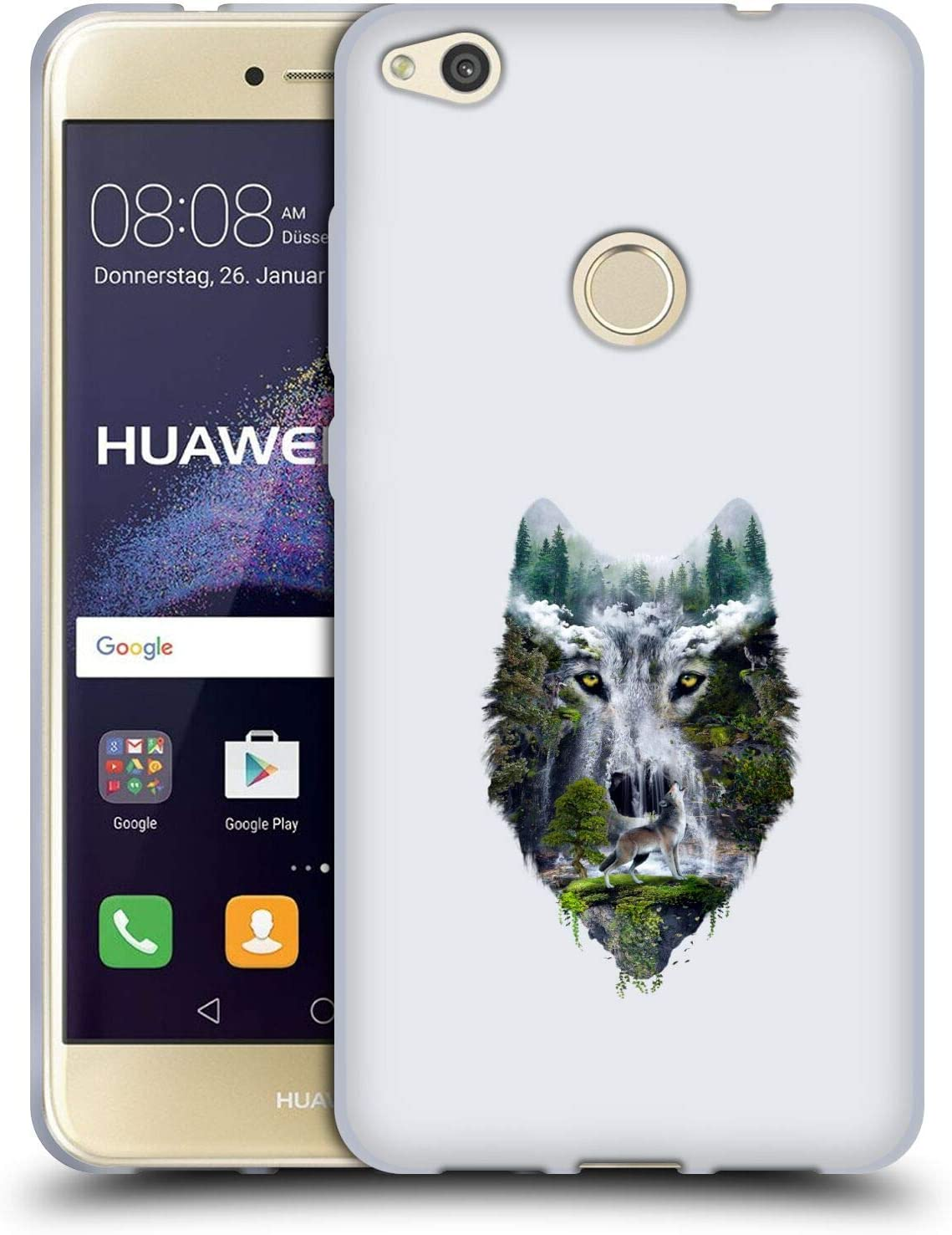 Head Case Designs Officially Licensed Riza Peker Wolf Nature Animal Abstract Soft Gel Case Compatible with Huawei P8 Lite (2017)