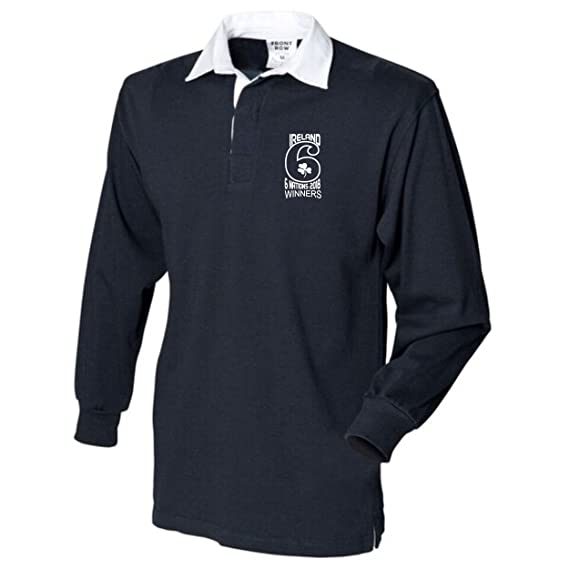 e2e8094b01a Number 6 Ireland Rugby Six Nations 2018 Winners Rugby Shirt Long Sleeve  Mens Navy/White