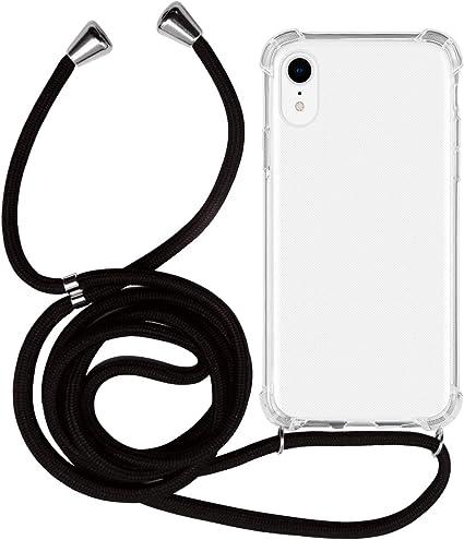 MyGadget Cover Trasparente con Cordino per Apple iPhone XR - Custodia Bumper Cordoncino - Case Angoli Rinforzati con Laccio Tracolla - Nero