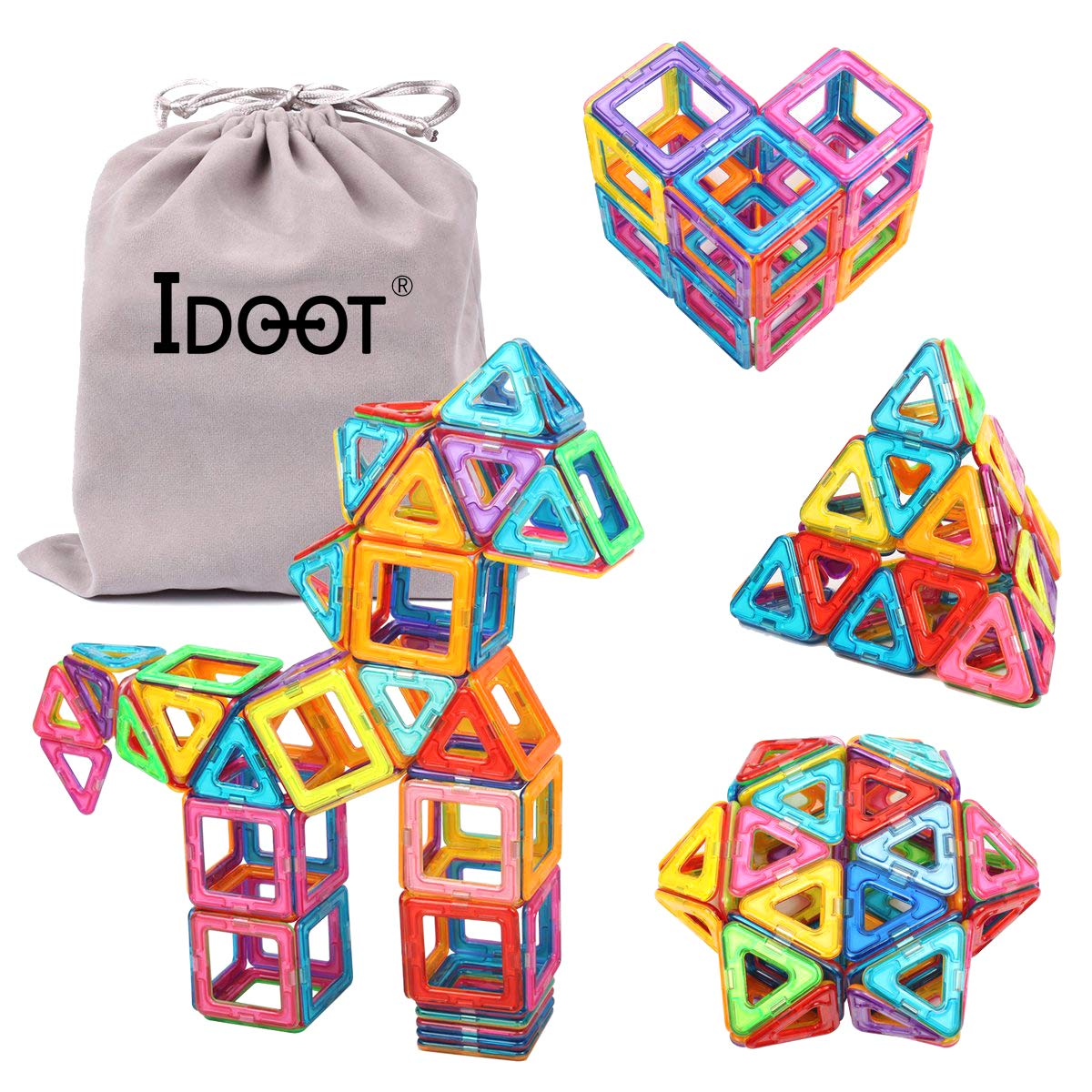 Magnetic Tiles Building Blocks Set Educational Toys for Kids with Storage Bag - 64Pcs by idoot