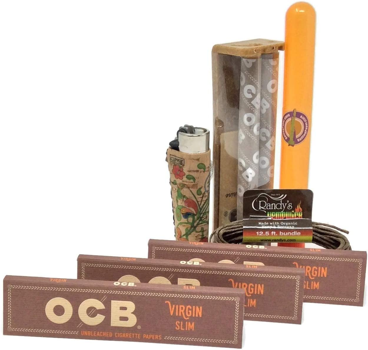 OCB Virgin King Size Slim 5 PACKS Unbleached Super Thin Rolling Papers