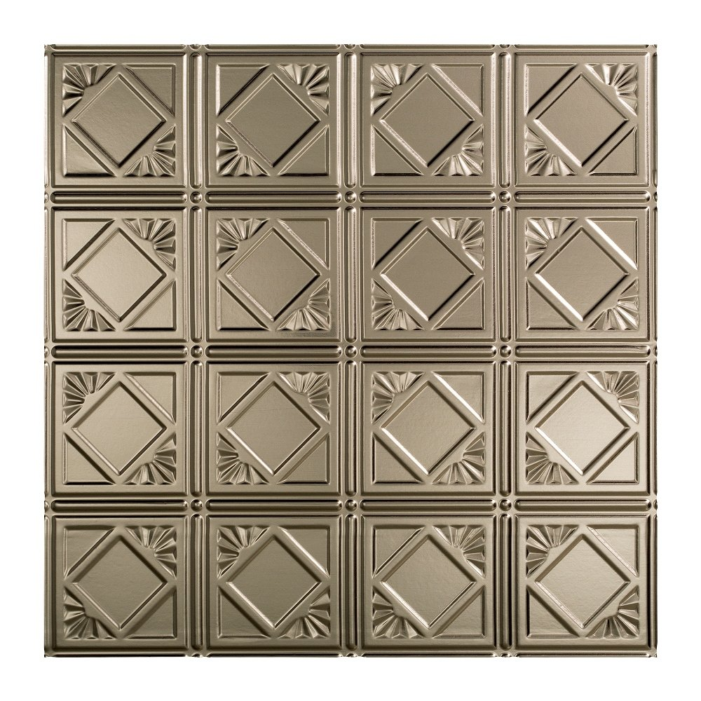 Fasade Easy Installation Traditional 4 Brushed Nickel Lay In Ceiling Tile / Ceiling Panel (2' x 2' Tile) by FASÄDE (Image #1)