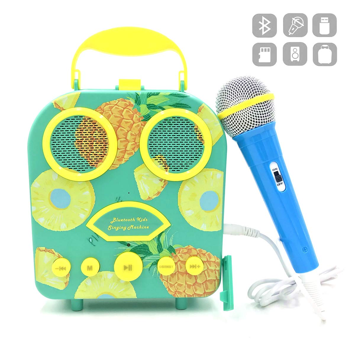 Kids Karaoke Machine with Microphone, Bluetooth Rechargeable Kids Handbag Karaoke Music Player Toy Children MP3 Player Loudspeaker with Microphone (Handbag Green)