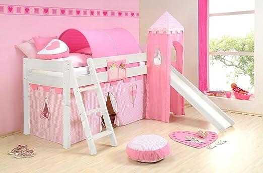 SAM® parte cama para niños Princesa II Blanco de madera maciza de base cama con ampliación como Variation (Seguridad somier enrollable/Cortina/tobogán/Torre/túnel) con schrägleiter Escalera oblicuo Envía desmontado con un paquete Servicio: Amazon.es: