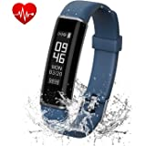 Fitness Tracker, Kinglead IP67 Wasserdicht Staubdicht Bluetooth Smart Band mit Pulsmesser Schlaf Monitor Schrittzähler Anruf Erinnern Android & iOS Activity Tracker