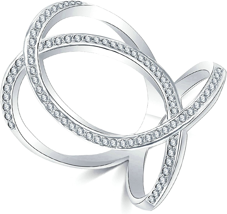 Gnzoe Fashion Jewelry Silver Plated Women Finger Rings Elegant Heart Hollow Shape Wedding Band CZ Zircon