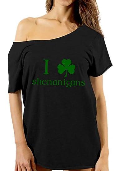 73da82ed053074 Vizor I Clover Shenanigans Off Shoulder Tshirt Saint Patrick s Day Shirt  For Her Black S