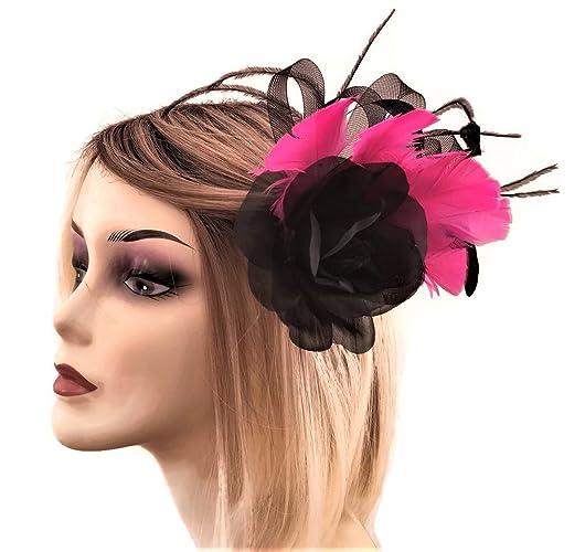 4eca2f2c2 Beautiful Black Rose Flower Fascinator on a Hair Clip Brooch: Amazon.co.uk:  Handmade