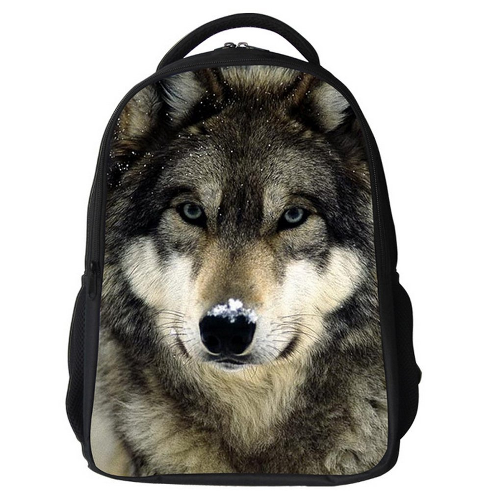 Datomarry Simple Wolf backpack Kids Teens Middle School Book Bag