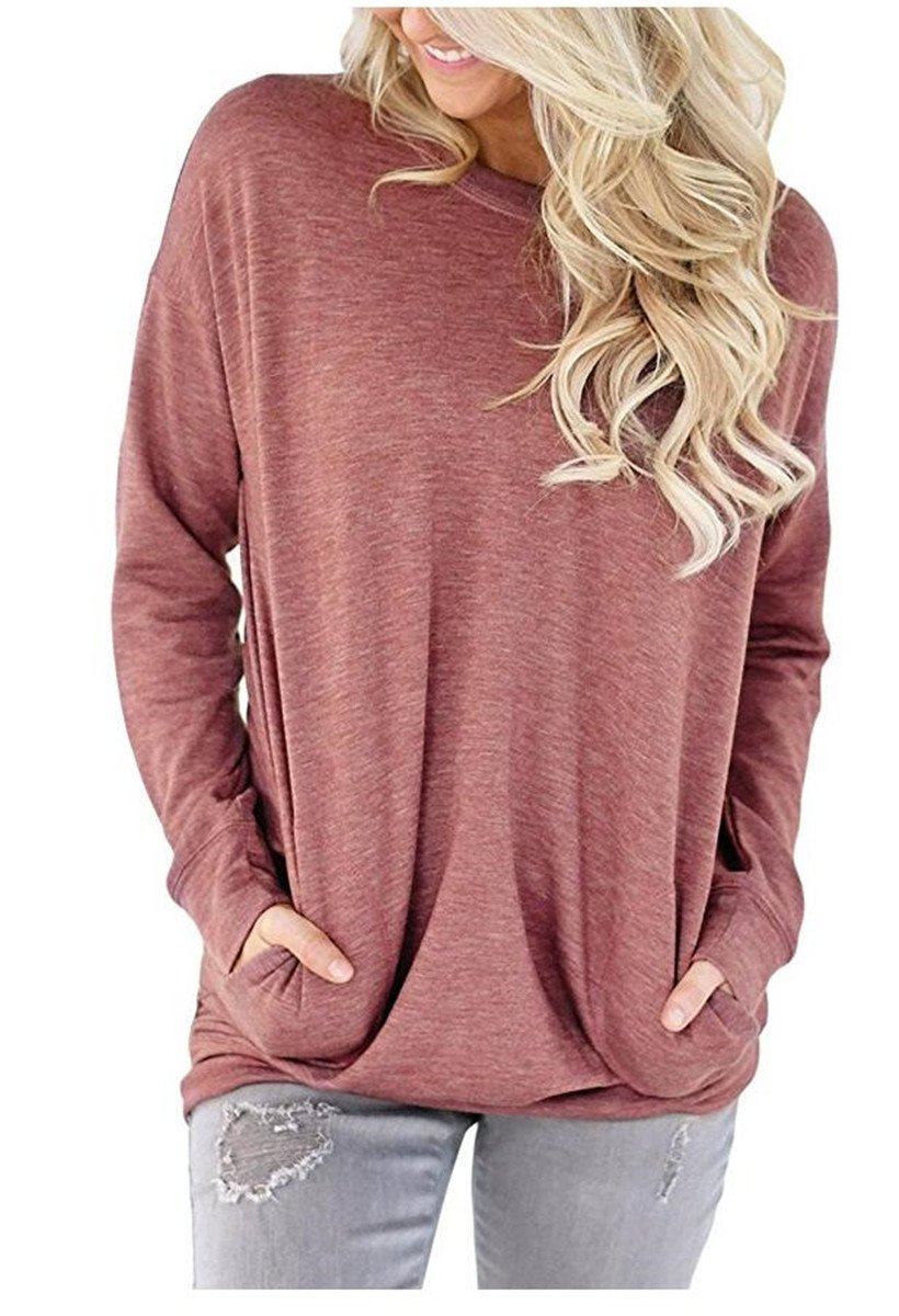 UniDear Women Casual Long Sleeve Round Neck Sweatshirt Loose Blouses Tops with Pocket Wine Red Small by UniDear (Image #2)