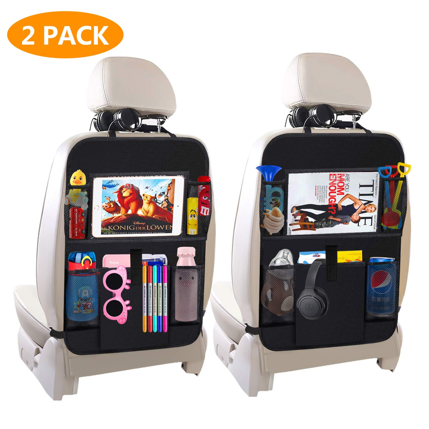 Car Backseat Organizer,Kick Mats Car Seat Back Protectors with 5 Storage Pockets+10'' Touch Screen Tablet Holder for Baby Toys Book Bottle Drinks Kids Travel Accessories(2 Pack) by Petrry-link