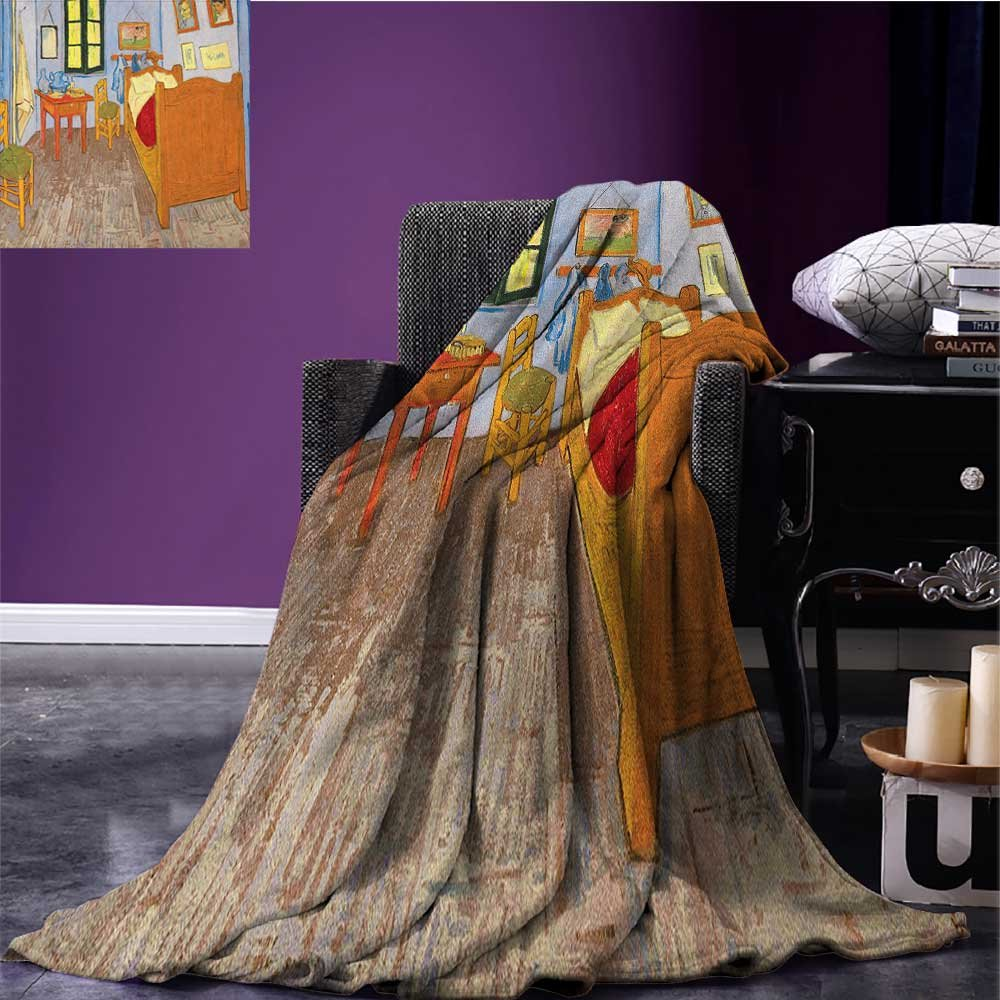 Art outdoor blanket Painting Style Room Interior with Bed Hanged Pictures Table and Chairs Near the Window Custom made Multicolor size:60''x80''