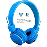 Volume Limited + Wireless Bluetooth Kids Headphones, Termichy wireless/wired Foldable Stereo over-Ear headsets with music share port and Built-in Microphone for calling, children Bluetooth Earphones for smartphones PC music gaming (Blue)