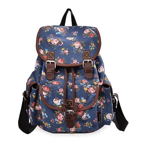 c1b22362cbd DGY Girl's Canvas Leather Trim School Backpack Cute Backpack Print Rucksack  163 Blue