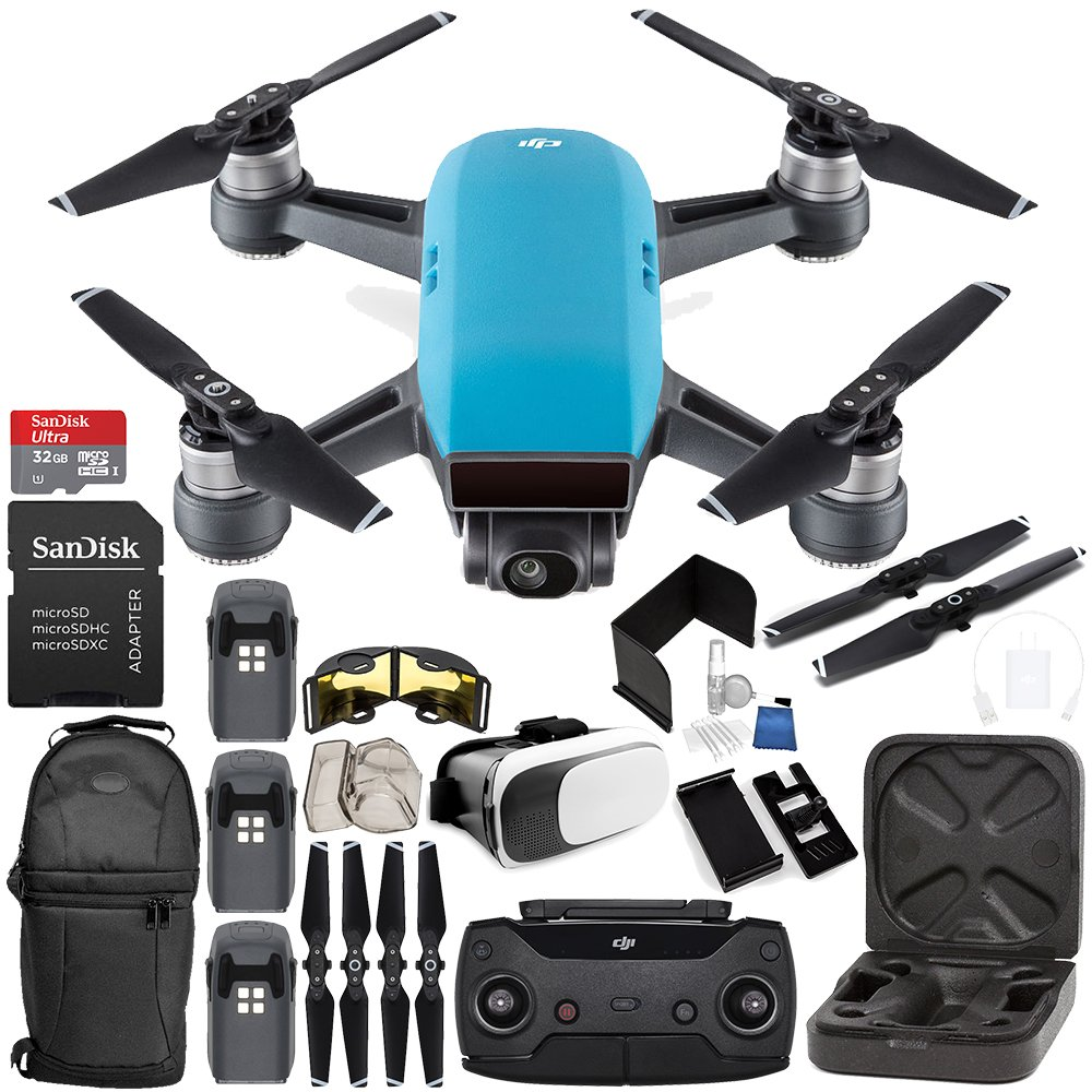 DJI Spark Portable Mini Drone Quadcopter (Sky Blue) + DJI Spark Remote Controller EVERYTHING YOU NEED Ultimate Bundle by SSE