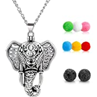 GraceAngie Antique Silver Luck Elephant Locket Lava Stones Perfume Fragrance Essential Oil Aromatherapy Diffuser Charms Pendant Necklace with Colorful Pads