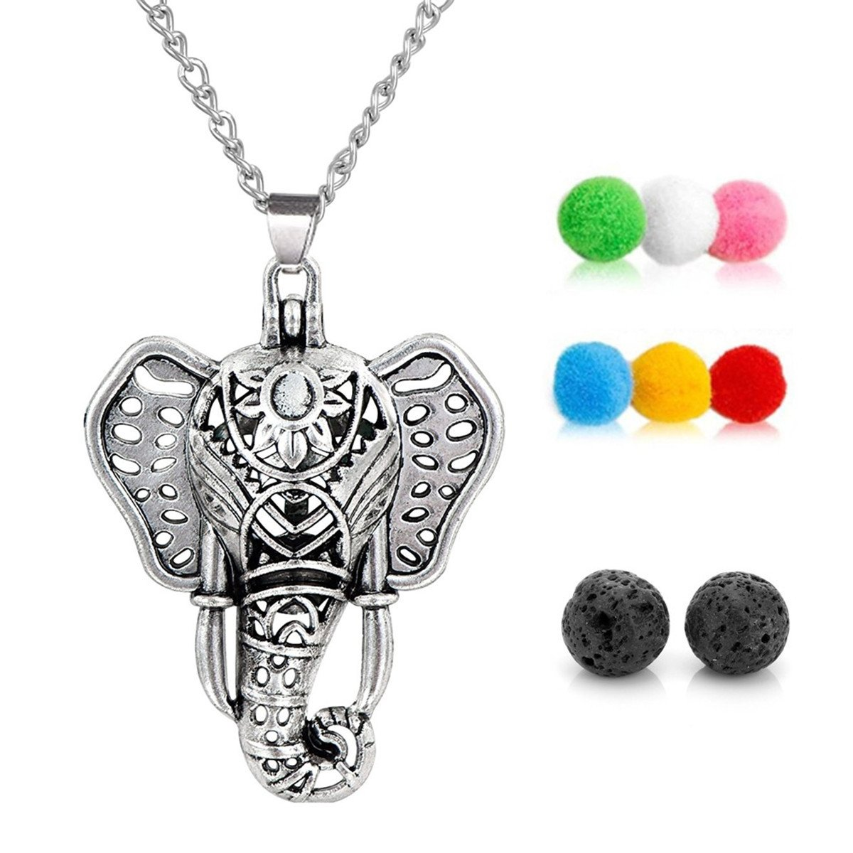 GraceAngie Antique Silver Luck Elephant Locket Lava Stones Perfume Fragrance Essential Oil Aromatherapy Diffuser Charms Pendant Necklace with Colorful Pads 53408-N