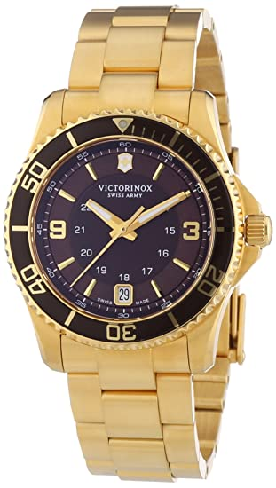 Amazon.com: Victorniox Mens 241614 Maverick Gold PVD Brown Stainless Steel Watch: Watches