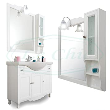 Badezimmer Shabby Chic Holz weiß von 105 cm Spiegel ...