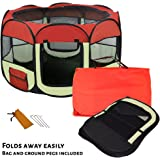 AVC Soft Fabric Foldable Indoor Outdoor Dog Cat Puppy Rabbit Playpen Run Cage (Small, Red)