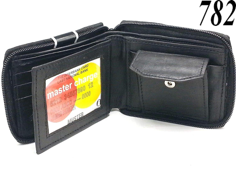 Mens Bifold Trifold Genuine Leather Wallet Card Case ID Holder Multi Pocket