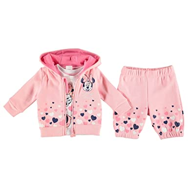 6c80edaf5 Disney Minnie Mouse Tracksuit Jacket Bottom & T-Shirt Set Baby Pink/White  Babies