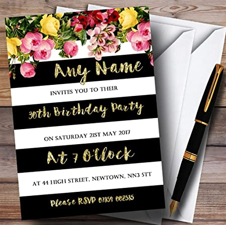 Pink Floral Black White Gold 30th Personalised Birthday Party Invitations Amazoncouk Kitchen Home
