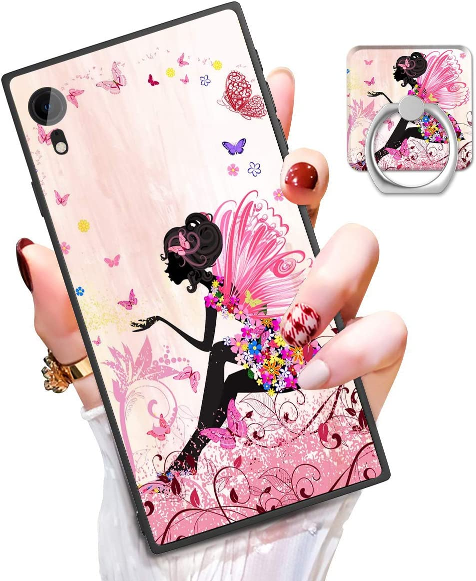 Someseed iPhone XR Case iPhone XR Phone Case with Kickstand Ring Holder Duty Shock Absorbent PC TPU Full Body Drop Protection Modern Design Art Dog Cover for iPhone XR (Butterfly Girl)