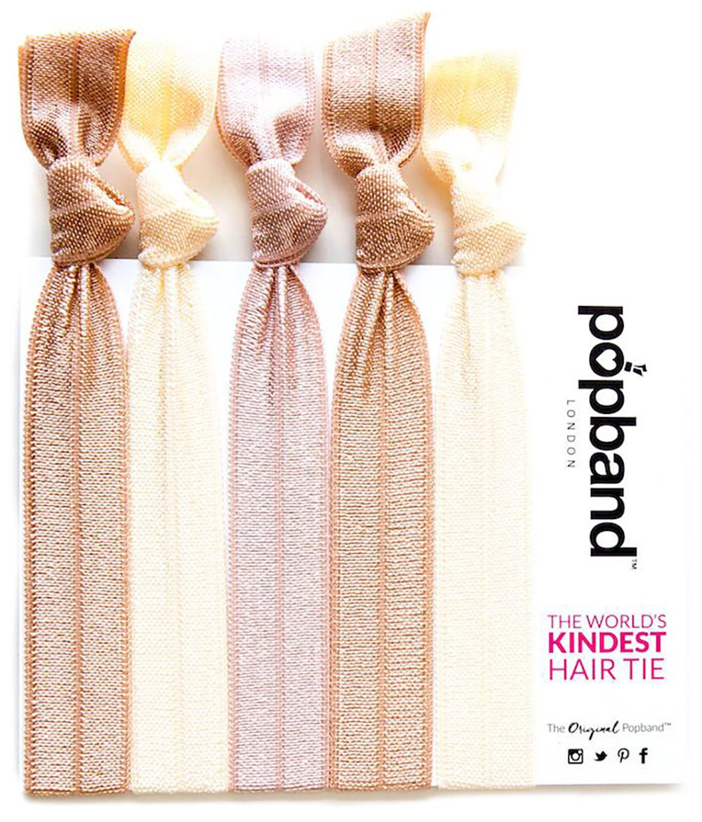Popband Solid Colour Ponytail Holder Hair Bands/Ties 5 Pack - Denim PB-5DEN