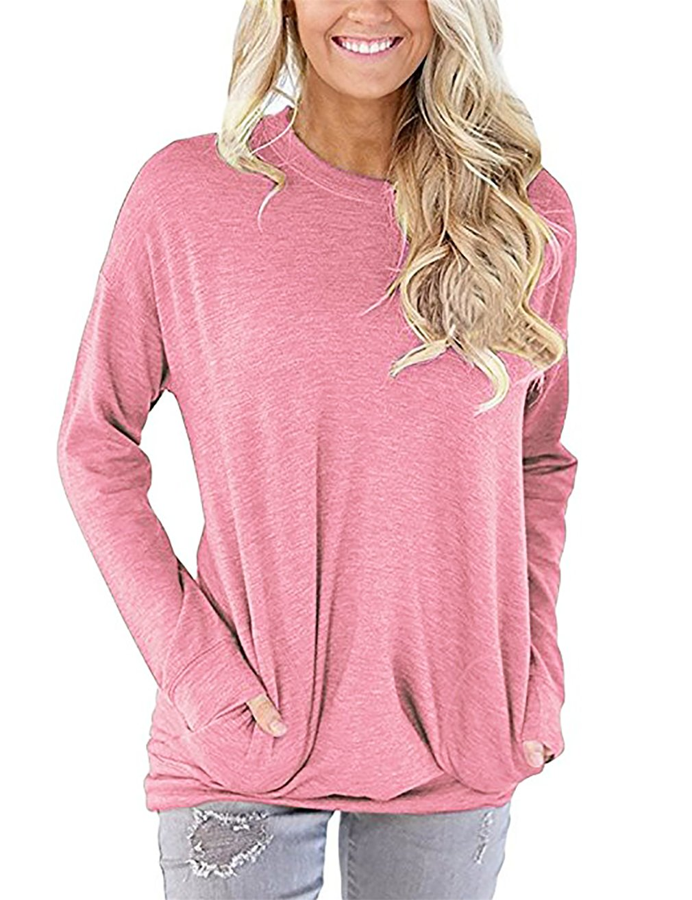 LNIMIKIY Women Pullover Sweatshirt, Ladies Business Casual Clothes Long Sleeve Round Neck Sweatshirt Loose T Shirt Blouses Tops Pink XX-Large