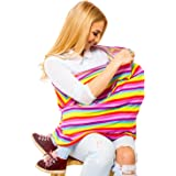 Nursing Cover for Breastfeeding and Drawstring Bag for Boys and Girls– Multipurpose Nursing Shawl, Infant Carseat Canopy, Baby Light Blanket, Infinity Scarf or Stroller Sunshade (Rainbow)