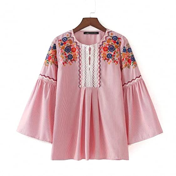 Women Shirts Sommer Blouse NEW Spring New Top Blouse with Sleeve Embroidery O-neck Striped