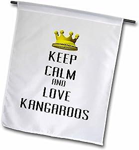 "3dRose Gold Crown Keep Calm & Love Kangaroos - Garden Flag, 12 by 18"""