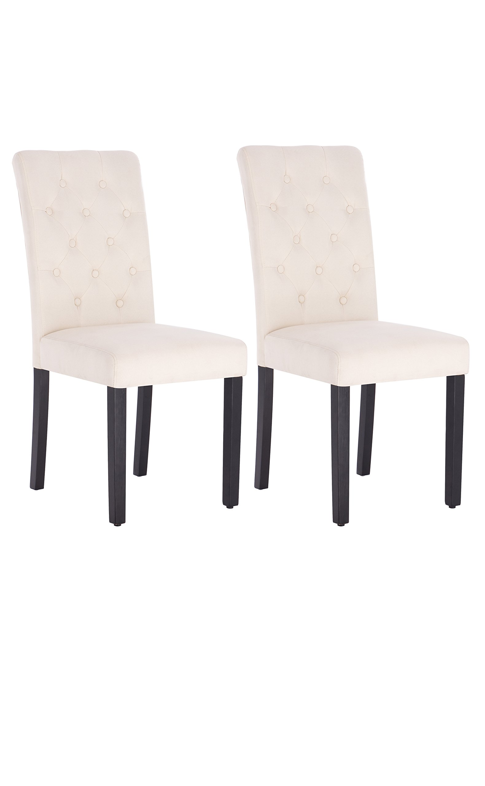 Fabric Dining Chair Modern Tufted Solid Wood Per-Home Padded Parsons Chair for Dining Room Living Room Set of 2 (Beige)