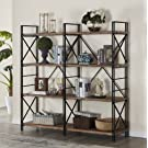"Homissue 4 Shelf Industrial Double Bookcase and Book Shelves, Storage Rack Display Stand, Etagere Bookshelf with Open 8 Shelf, Retro Brown, 64.2""Height"