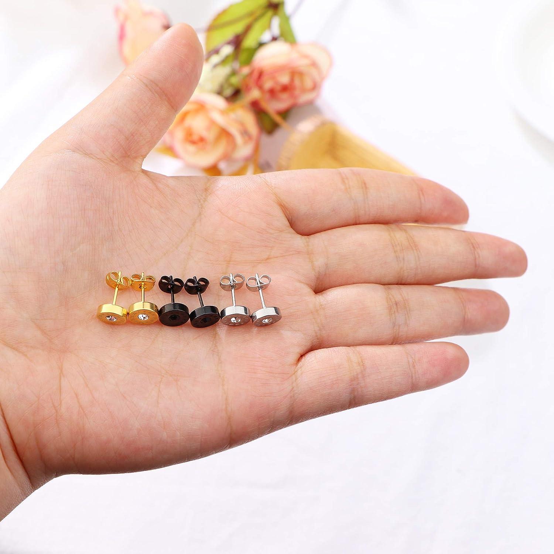 Yadoca 3 Paires Boucle doreille Acier Inoxydable pour Homme Femme Noir Or Argent Clou Anneaux Cubique Zirconium Num/érique Stud Diamant Ronde Petite /Él/égant Simple Classique Boucle d Oreille