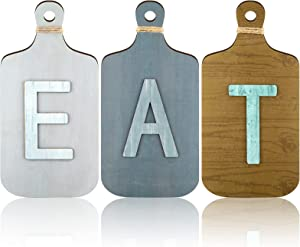 Jetec 3 Pieces Cutting Board Eat Wood Sign Kitchen Wall Decor Rustic Farmhouse Fork and Spoon Wall Hanging Decor Wooden Sign for Home Dining Living Room Bar Cafe Decoration