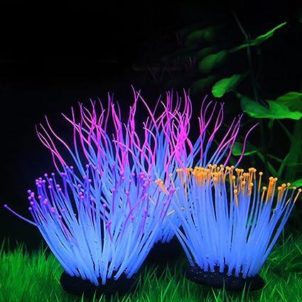 Anémonas luminosas artificiales de silicona de varios colores para decoración de acuario