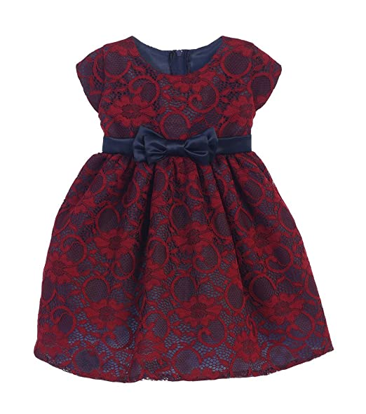 Sweet Kids Burgundy Floral Lace Holiday Dress