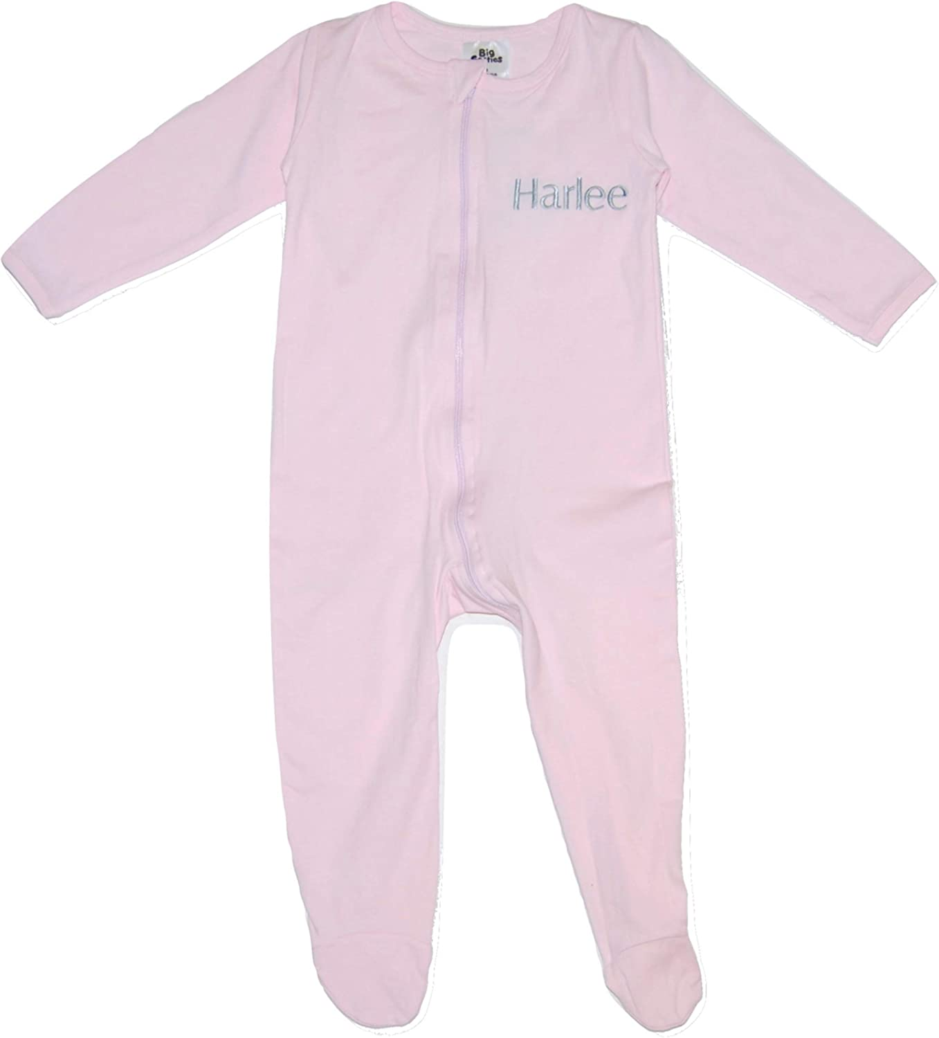 Big Softies Baby Girl Boy Personalised Sleepsuit Romper Embroidered Name Grey Blue Pink