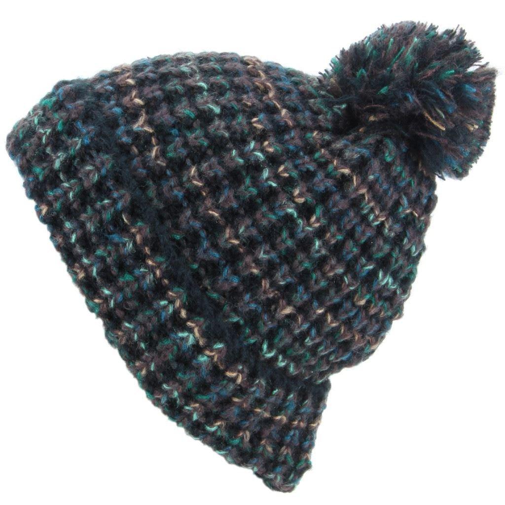 ae505330762 Hawkins Chunky Knit Beanie Bobble Hat - Black   Green  Amazon.co.uk   Clothing