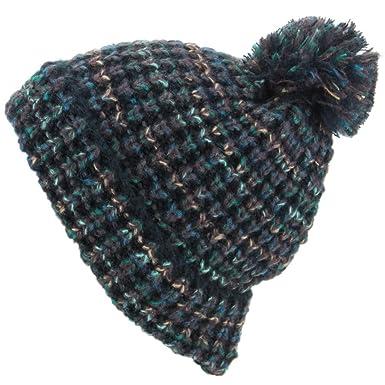 25b2ed15c8f Hawkins Chunky Knit Beanie Bobble Hat - Black   Green  Amazon.co.uk ...