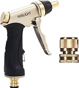 Garden Hose Nozzle, Adjustable and High Pressure Pistol Grip Sprayer for Watering Plants, Washing Cars, Showering Dogs, Metal Spray Gun with Brass Nozzle, Water Hose Nozzle with Adjustable Tip