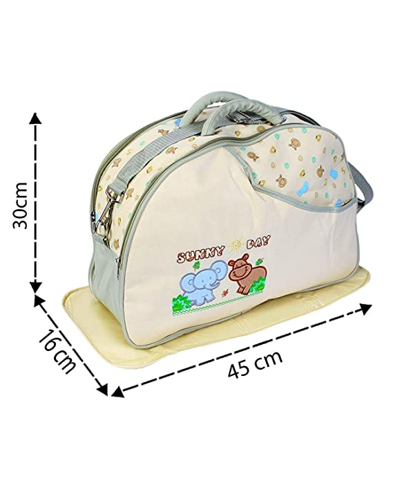 Unique Ideas New Born Baby Multipurpose Polyester Diaper/Mother Bag with Holder Diaper Changing Multi Compartment (Printed Cream, Medium)